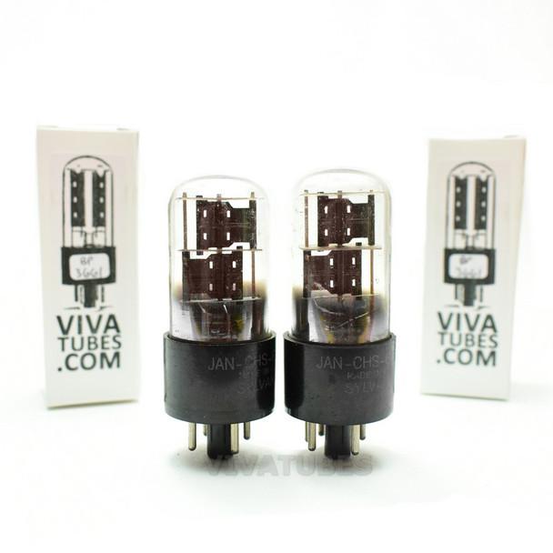 Tests NOS Date Matched Pair Sylvania USA JAN-CHS-6X5GT Black PL 3 Mica Tubes