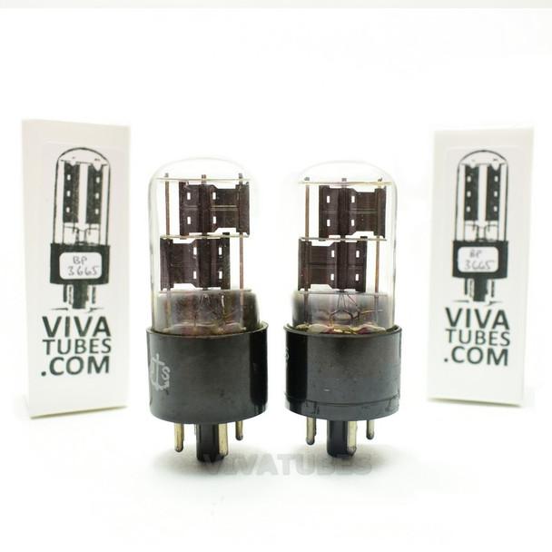 Tests NOS Matched Pair Sylvania JAN-CHS-6X5GT/VT-126B Black PL 3x Mica Tubes