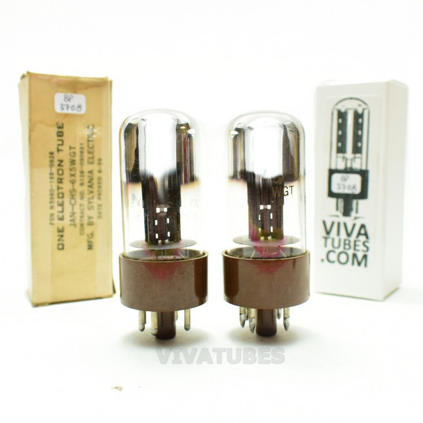 Tests NOS Matched Pair Sylvania USA JAN-CHS-6X5WGT Chrome Dome Brown Base Tubes