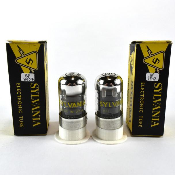 True NOS NIB Date Matched Pair Sylvania USA 7C7 Black Vacuum Tubes