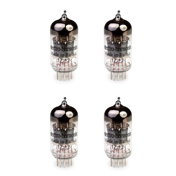 New Gain Matched Quad Electro-Harmonix 12DW7 / ECC832 Vacuum Tubes