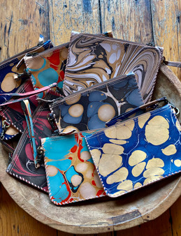 Marbled Leather Pouch