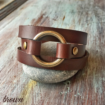 Petite Triple Wrap O-Ring Bracelet - Brown with Antique Brass Ring