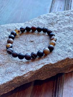 Bamboo Agate Crystal Bracelet (large beads)