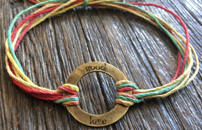 "The Salty Surfer tribal vibe circle ""good love"" RASTA hemp bracelet"
