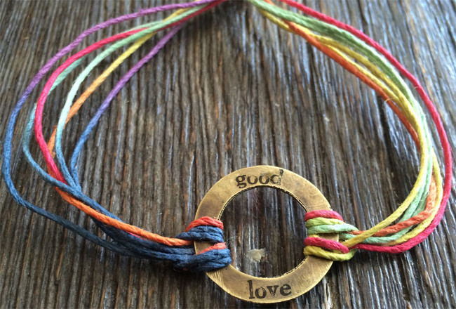 "The Salty Surfer tribal vibe circle ""good love"" TOUCAN hemp bracelet"