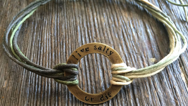 "The Salty Surfer tribal vibe circle ""live salty or die"" SAFARI GREEN hemp bracelet"