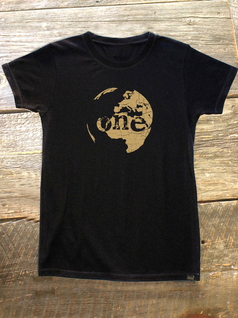 "The Salty Surfer Tribal Vibe Women's ""one world"" HEMP t-shirt"