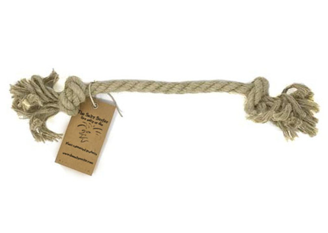 "The Salty Surfer pet toys are made from natural, durable, earth friendly hemp materials. Your pet friend will love the earthy smell of the natural hemp fibers and soon it will become his favorite toy.  100% HEMP ROPE 12MM by 9"" LENGTH NATURAL - WON'T HARM YOUR PET GOOD FOR SMALLER BREEDS"