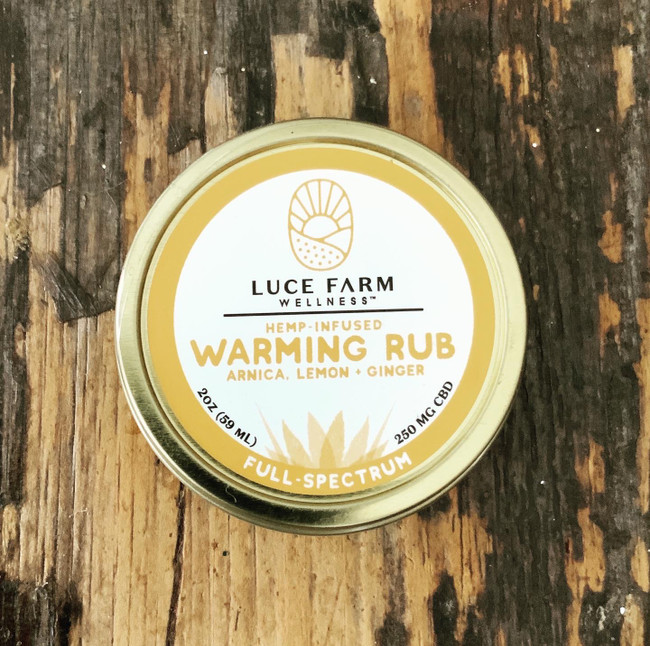 2 Fl. Oz  250 mg CBD  Our Hemp-Infused Warming Rub is a combination of organic sunflower oil, organic coconut oil, organic cocoa butter, vitamin E, beeswax, arnica, hemp extract with lemon and ginger essential oils. Apply locally as needed and enjoy the warming fragrance of ginger.    *formerly Hemp Infused Muscle Rub*  Not only do we manufacture our full product line right here in Vermont, but ALL of our hemp is grown, processed and extracted in Vermont too!     Not for use during pregnancy or lactation. Consult your physician if you have a medical condition or take prescription drugs. Disclaimer: This product has not been evaluated by the FDA. It is not intended to treat, cure, diagnose or prevent any disease.