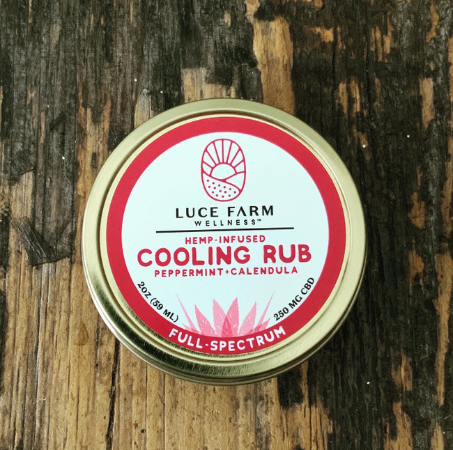 2 Fl. Oz  250 mg CBD  Our Hemp-Infused Cooling Rub is a combination of organic sunflower oil, organic coconut oil, organic cocoa butter, hemp extract, beeswax, vitamin E, calendula & peppermint essential oil. Apply locally as needed and enjoy the cooling fragrance of peppermint.  Not only do we manufacture our full product line right here in Vermont, but ALL of our hemp is grown, processed, and extracted in Vermont too!     Not for use during pregnancy or lactation. Consult your physician if you have a medical condition or take prescription drugs. Disclaimer: This product has not been evaluated by the FDA. It is not intended to treat, cure, diagnose or prevent any disease.