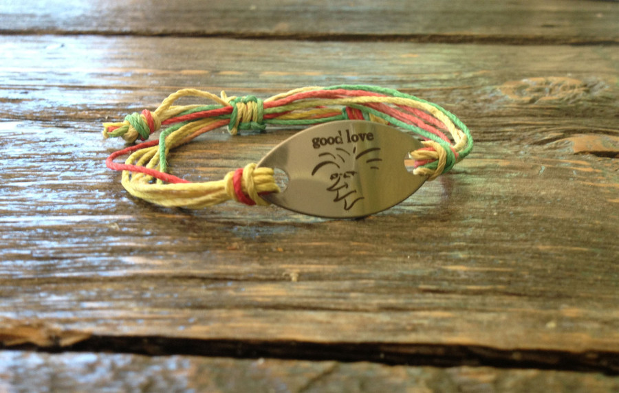 The Salty Surfer Tribal Good Love RASTA hemp bracelet