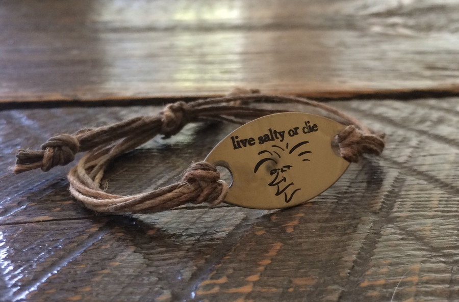 The Salty Surfer Tribal live salty or die Safari Sand hemp bracelet
