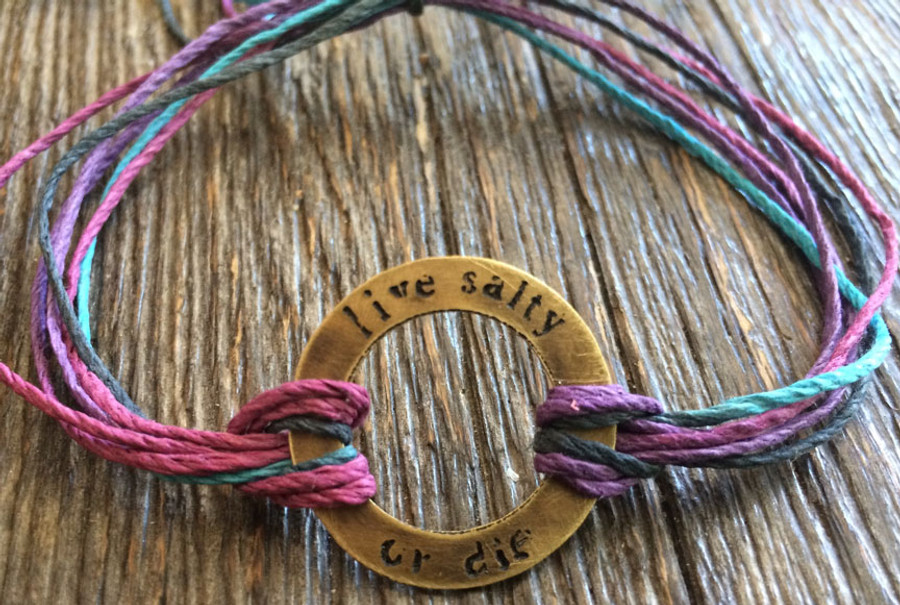 The Salty Surfer Tribal Circle live salty or die Purple Haze hemp bracelet