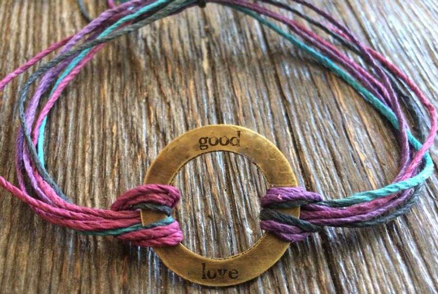 The Salty Surfer Tribal Circle Good Love Purple Haze hemp bracelet