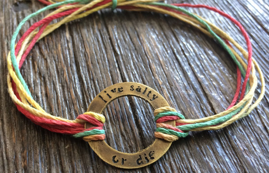 The Salty Surfer Tribal Circle live salty or die RASTA hemp bracelet