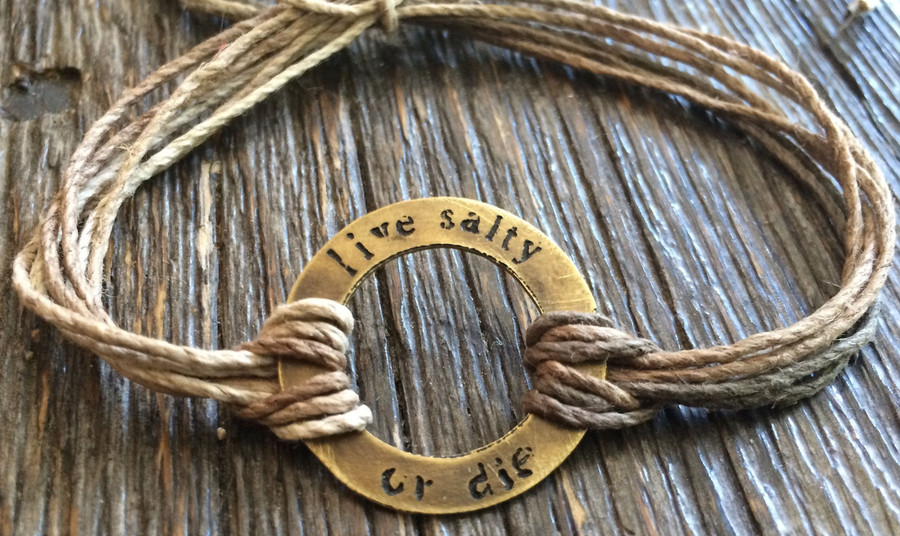 "The Salty Surfer tribal vibe circle ""live salty or die"" SAFARI SAND hemp bracelet"