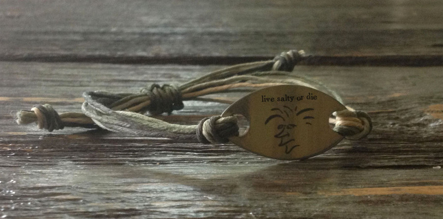 "The Salty Surfer tribal vibe ""live salty or die"" SAFARI GREEN hemp bracelet"
