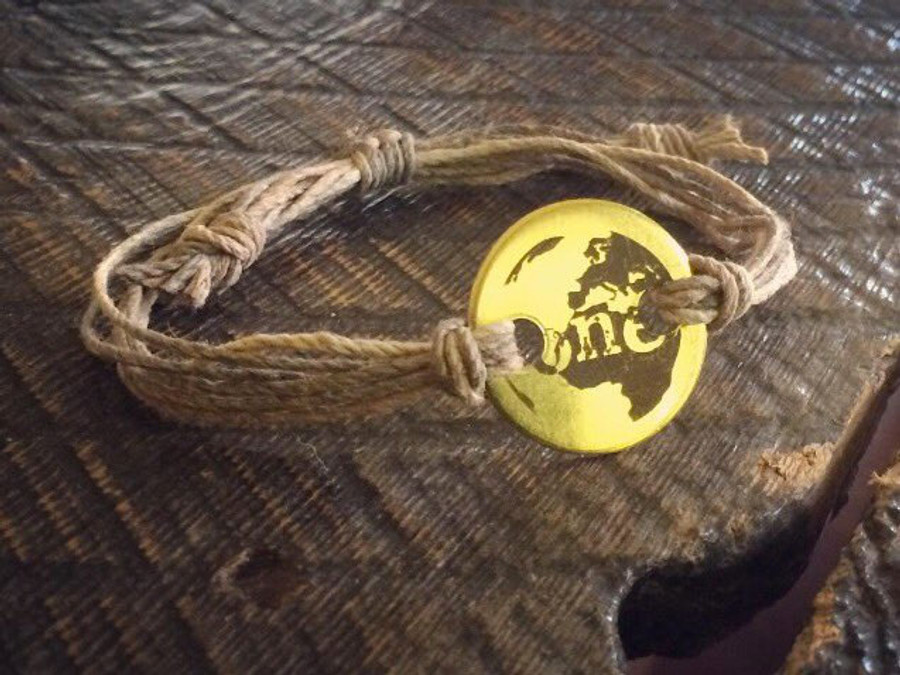 "The Salty Surfer Tribal vibe ""ONE"" world handmade  hemp bracelet."