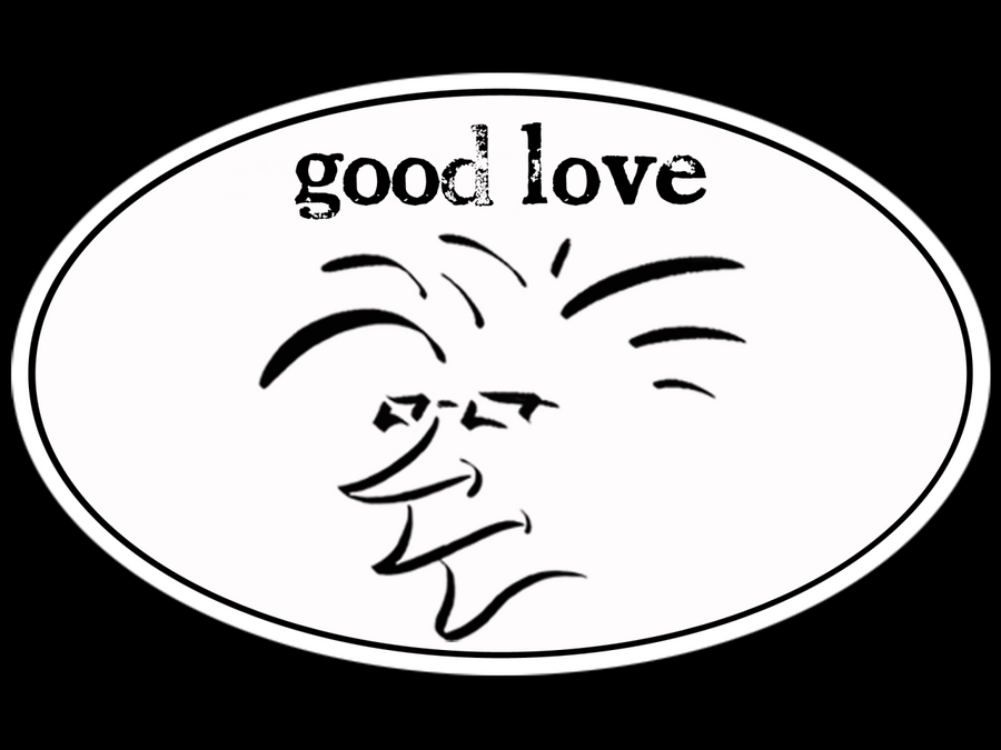 The Salty Surfer Head Good Love Tribal Sticker