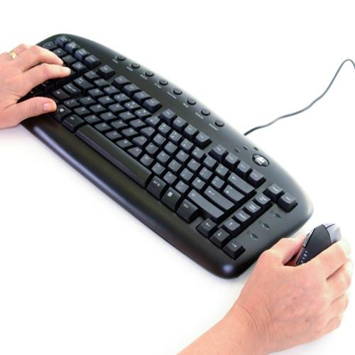 Bothhands Keyboard Anti-RSI USB.  Left Hand Keypad with operator using keyboard and ergonomic mouse