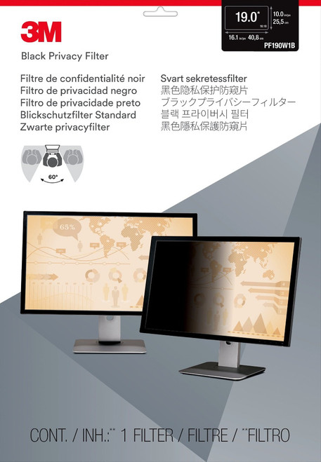 """PF190W1B - 3M Privacy Filter for 19"""" Widescreen Monitor (16:10) - packaging"""