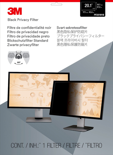 """PF201W1B - 3M Privacy Filter for 20.1"""" Widescreen Monitor (16:10) - packaging"""