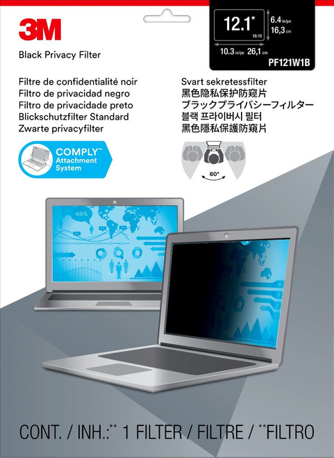 """PF121W1B - 3M Privacy Filter for 12.1"""" Widescreen Laptop (16:10) - packaging"""