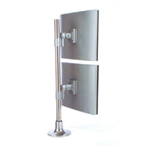 Reach4 Dual Screen Post Arm 700mm Over and Under, No Link with Through Desk Fitting or Desk Edge Clamp