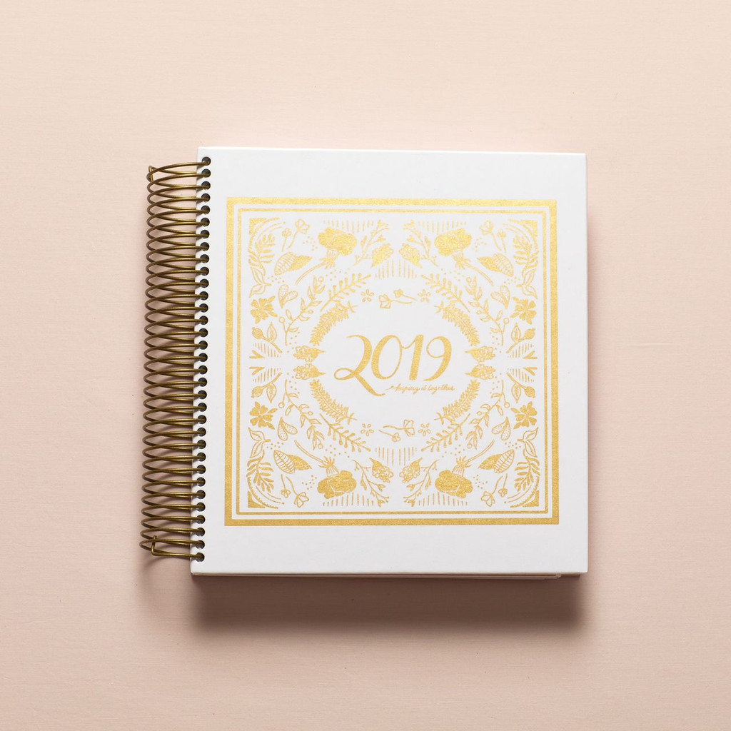 2019 daily keeping it together planner - white and gold foil cover