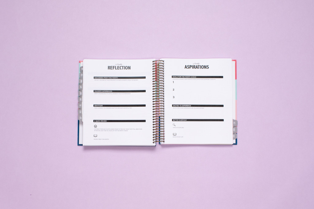 Budget, Reflections and Aspirations, Habit Tracker and Notes found at the end of each month.