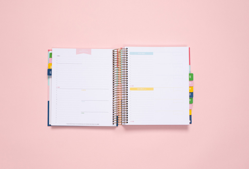 One page per weekday. Weekdays offer open planning space as well as time slots and prompts for The Big Three, Gratitude, Wellness and Self-Care.  Weekend Page provides open planning space and customizable blocks.