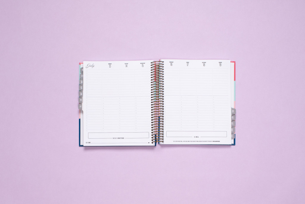 Weekly two-page vertical spread offers space for Tasks, Appointments, Wellness, Gratitude and Self-Care in a neutral color-scheme.