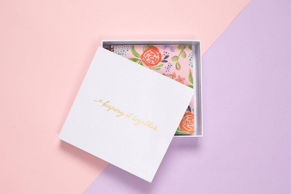 Each Luxe Planner is packaged in a foil stamped keep-sake box.