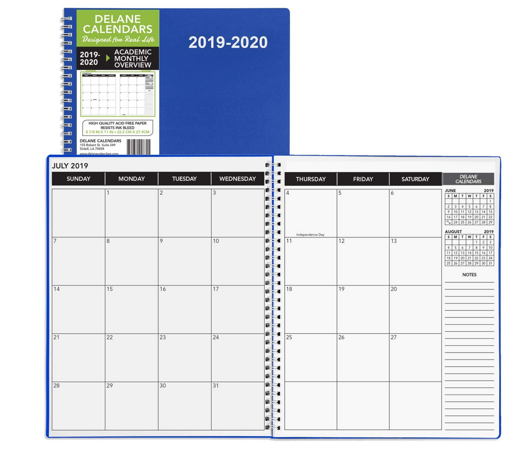 2019 - 2020 Monthly Delane Planner | Blue