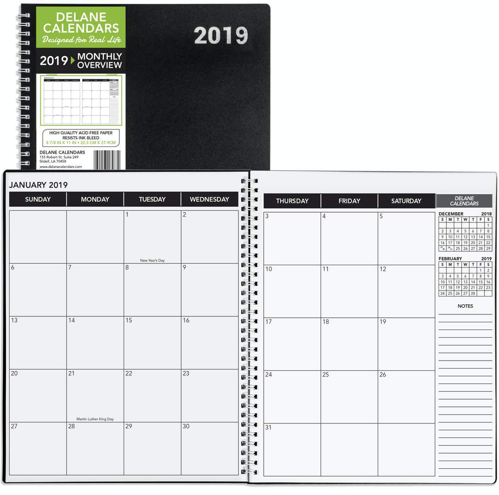 2019 - 2020 Monthly Delane Planner | Black