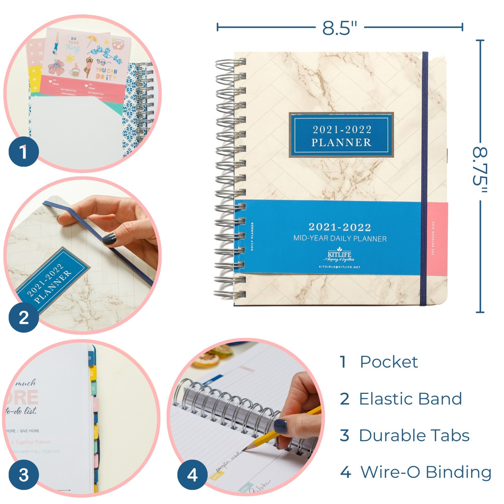 2021-2022 Daily Keeping it Together Planner   Marble