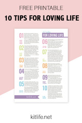 Free Printable |  10 Tips for Loving Life