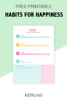Free Printable |  Habits for Happiness