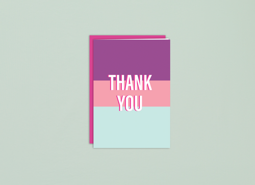 Bright fun colorblock thank you card