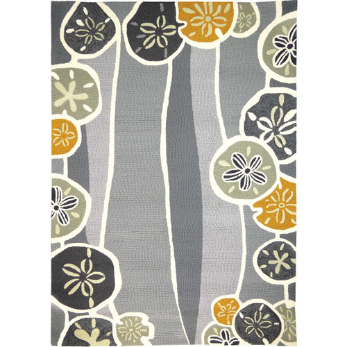 Sand Dollar Waves Gray Indoor/Outdoor Rug Collection
