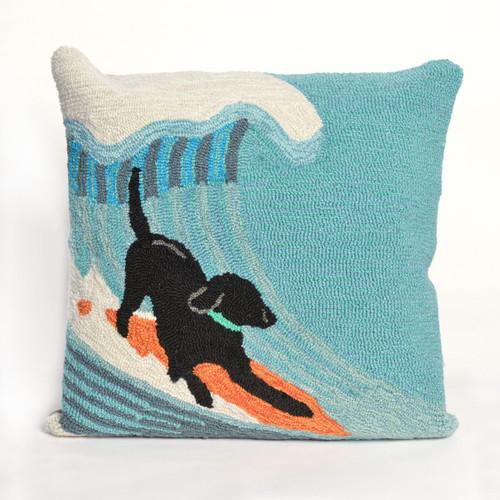 Surfing Dog Ocean Indoor/Outdoor Pillow