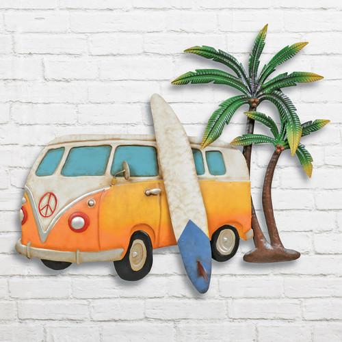Surf's Up Beach Bus Metal Wall Art