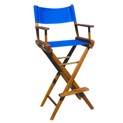 Teak Captain's Chair with Blue Seat Covers