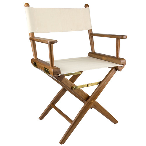 Teak Director's Chair with Natural Seat Covers