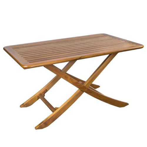 Teak Large Adjustable Slat-Top Table