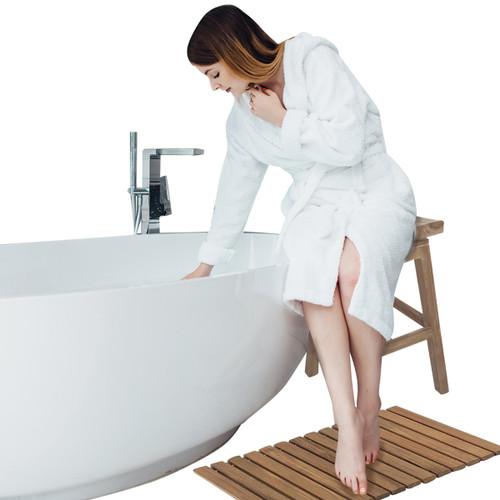 Teak Roll-Up Shower Mat