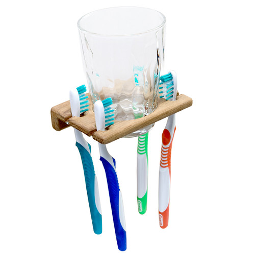 Teak Toothbrush Holder with Glass