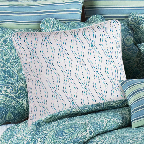 Teal Dots Embroidered Pillow