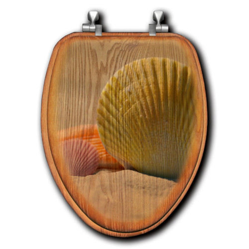 Golden Sands Shell Wood Toilet Seats